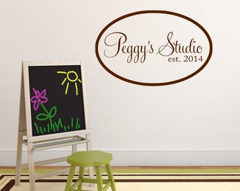 Personalized Studio Wall Decal Art Decor Vinyl Lettering Custom Craft Room Decor Business Name Decal Hobby Wall Decal