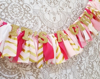 It's A Girl Banner - Baby Shower Decor - Pink and Gold Girl's Birthday Party - Rag Banner - Photography Prop