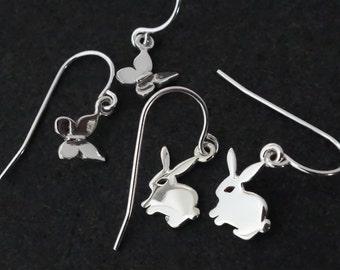 Easter Rabbit Earrings / Butterfly Sterling Silver / Pet Earring Dainty Cute Butterfly Cuddly Bunny Rabbit Earrings Birthday Gift