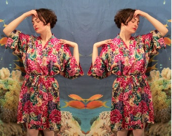 Floral Shorty Robe Dressing Gown, 80s