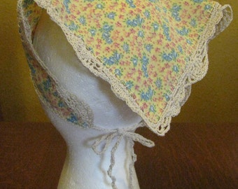 Hand Made Yellow Calico Head Kerchief with Double-Fan and Scallop Crochet Edge and Ties for Teen or Adult