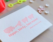 Letterpress birthday card in neon red.  Funny, punny cute card. 'Hippo Birdy Two Ewes' - quirky fun animal card. Bird, Hippopotumus, Sheep.