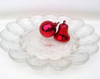 Vintage Deviled Egg Platter, Deviled Egg Dish, Sandwich Glass Plate, Egg Tray, Starburst Glass