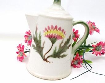 Vintage Sugar Shaker / Sugar Pourer, Ceramic Dispenser, Teapot Shaker / Pink Thistle, Kitchen Container