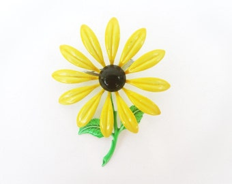 Vintage Metal Flower Brooch / Yellow Daisy Flower Pin, Black Eyed Susan, Flower Power