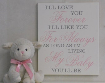 I'll love you forever | I'll like you for always | As long as I'm living my baby you'll be | Light Pink Gray Baby Girl Nursery Decor