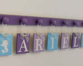 Mermaid - Under The Sea - Personalized Hanging Name Sign Decor - Purple Aqua Ribbon Nameplate - Baby Girl Shower Gift Nursery Sea Decor