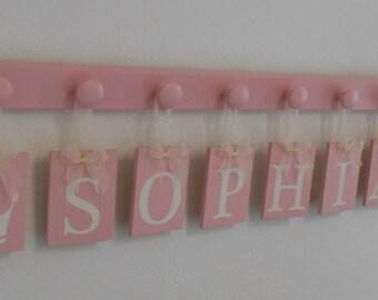 Princess Crown Wooden Wall Decor, Princess Crown Room Decor,  Princess Crown Name Decor, Wall Sign Name Light Pink Tiles