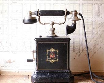 Antique Danish Jydsk Hand Crank Desk Telephone - 1910