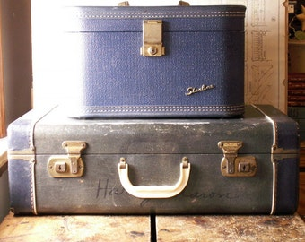 Vintage Blue Suitcase with White Accents - Medium Size