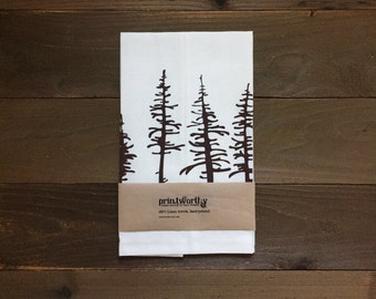 Tea Towel, Linen Dish Towel, Spruce Pine Evergreen Design, Screen Printed Kitchen Towel
