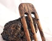 CUSTOM for ** pinutzz ** - Spalted Tamarind & Redheart Hair Fork - 3 Prong Hairfork