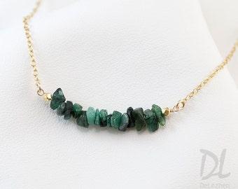 Rough Raw Emerald Bar Necklace - Gemstone Bar Necklaces - May Birthstone Necklace - Layering Necklace - Delicate Gemstone Necklace - Minimal