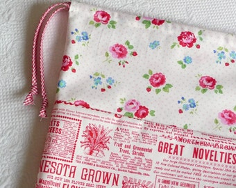Lingerie Bag. Cottage Chic Garden Floral Roses and Seed Ad Print. Red White Blue Retro Bag