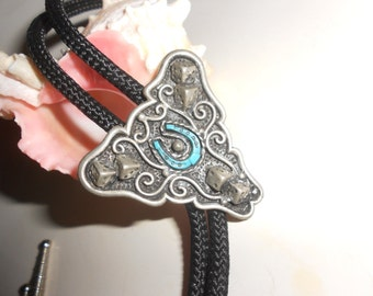 Turquoise Bolo Tie Lucky Southwestern Wear With Horseshoe and Dice On Pewter Bezel Setting