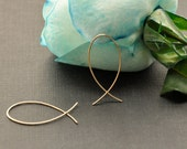 "Small Fish Hoop, Gold Wire Earrings, 14K Gold Filled Ichthus Earrings, Christian Jewelry, 1"",  1 1/4"", 1 1/2"", 2"""