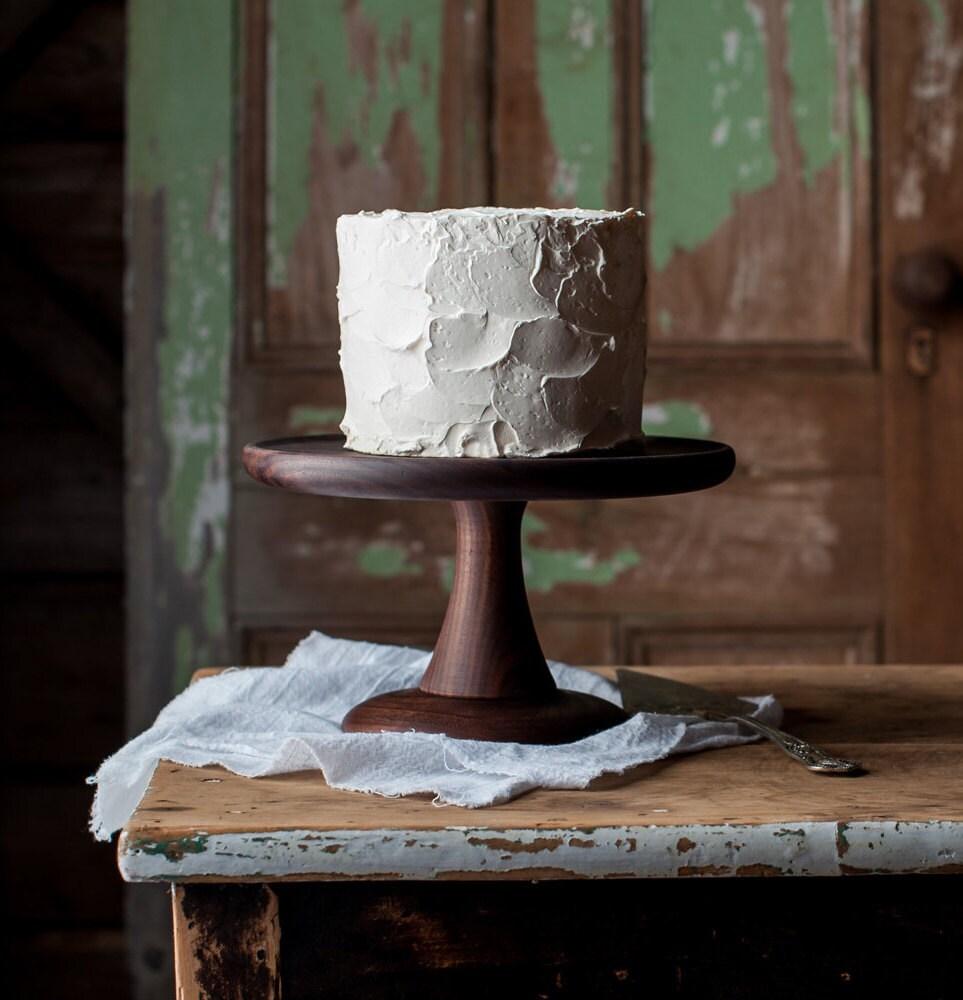 Walnut Cake Stand Turned Wood Platter Pedestal
