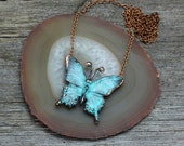Blue Copper Butterfly pendant necklace
