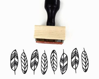 Rubber Stamp Geo Feathers - Natural Geometric Pattern Stamp