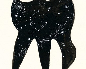 A Starry Tooth. An original dental ink painting.