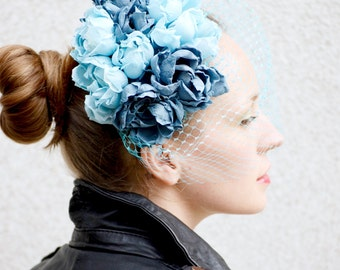 Blue Roses fascinator with birdcage veil