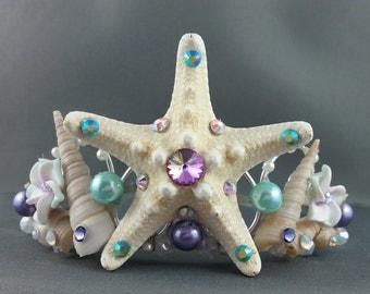 Mermaid Crown - Lavender Mint Starfish Tiara Mermaid Tiara Little Mermaid Ocean Tiara Beach Wedding Crown Beach Tiara - Ready to Ship