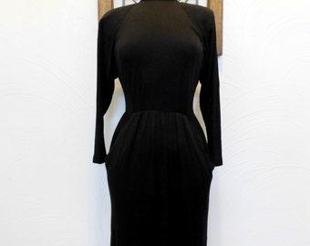 Vintage Victoria's Secret Dress 1980s Black Keyhole Dress - M