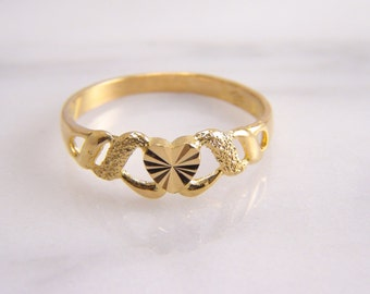 Vintage Laser Cut Heart Ring Band 22k Yellow Gold Size 5
