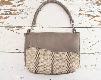 Summer Woven Shoulder Purse in Taupe, Ecru and Brown.  Made to Order.  Free Shipping