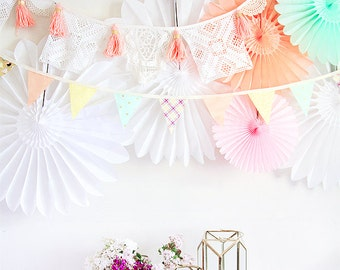 Shop this pic! Paper Pinwheels, crochet garland, garland perfect and easy party decor w/gold polka dots + gold hearts + cute birds + florals