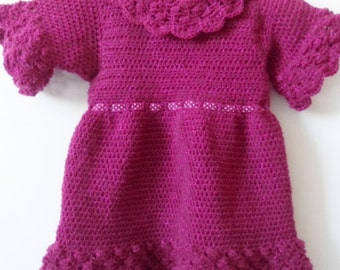 Crochet Pattern Party Dress for Toddlers with Bobble Lace Collar and Trim