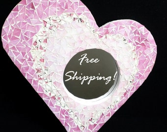 "Mirror Mosaic Heart Pretty in Pink ""Chips of Color"" by Cheri"
