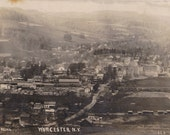 Worcester, NY- 1910s Antique Photograph- New York Landscape- Bird's Eye View- Real Photo Postcard- RPPC- Paper Ephemera