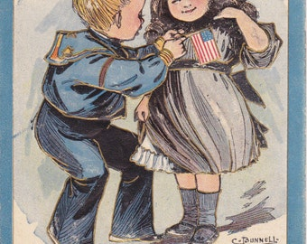 The Blue and The Gray- 1900s Antique Postcard- Decoration Day- Civil War Memorial- Artist Signed C Bunnell- Fred C Lounsbury- Paper Ephemera