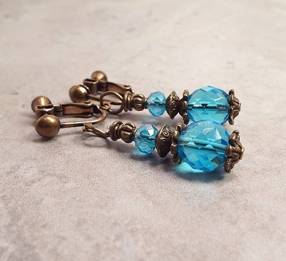 blue earrings clip on earrings aqua blue by