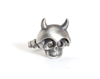 Rustic skull Horns ring,silver ring,skull & Horns ring, skull silver jewelry,men's skull ring,men's gift's,men's ring,steampunk skull ring