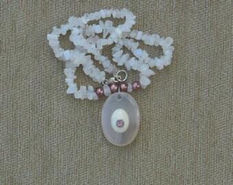 Rose quartz, howlite and zircon necklace