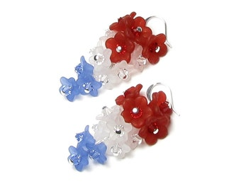 4th of July Red White Blue Flower Cluster Swarovski Crystal Silver Earrings American Flag Color Summer Jewelry for Women Patriotic USA Gifts
