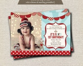 Sock Monkey Invitation red brown aqua, Sock Monkey Invite, Sock Monkey Party Printables