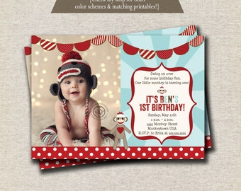 Sock Monkey Invitation red brown aqua, Sock Monkey Invite, Sock Monkey Party Printables