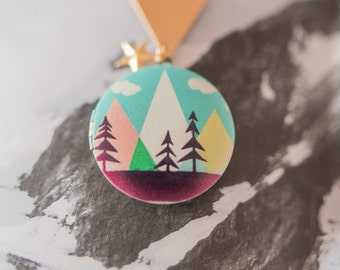 Adventurer Locket, Mountain Locket, Mountain Necklace, Adventure Necklace, Travel Jewellery, Travel Gift, Gift for Traveller, Mountain Charm