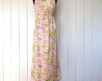 Hawaiian Maxi Dress 1970s Vintage Summer Pink Floral Print Boho Sun Dress Small