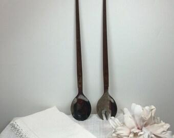 Vintage Modern Salad Servers Stainless w/ Wood Handles Wooden Fork & Spoon Set - #A1565