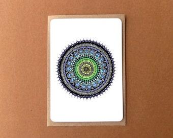Beautiful mandala card, COLOURFUL ROUNDIE, zentangle card, general note card