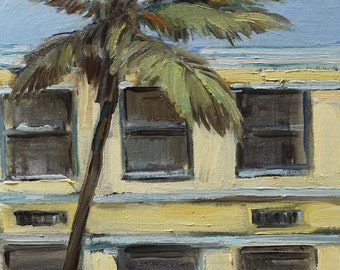 Original Oil Painting-8x10-Impressionist Painting-Florida-Palm Tree-Miami Beach-Urban-Yellow and Blue-Cityscape-Home Decor-Fine Art