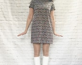 Vintage 60s Mod Graphic Print Mini Shift Dress S M Red Teal Psychedelic GoGo Costume