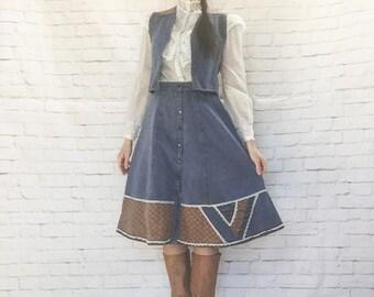 Rare Vintage 70s Gunne Sax Denim Vest Skirt Dress Set S Liberty Floral Patchwork Lace Trim Bohemian Festival
