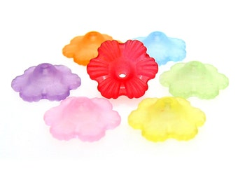 Flower Bead Caps : 50 pieces Acrylic Frosted Flower Bead Caps 11x4.5mm , Mixed Colors -- 561.F1