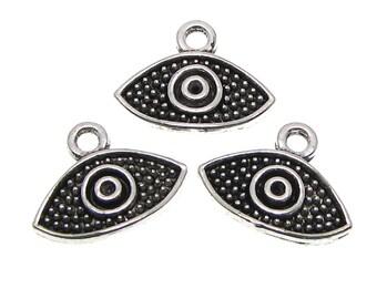 Silver Charms : 10 Antique Silver Evil Eye Charms | Silver Evil Eye Pendants 15x12mm -- Lead, Nickel & Cadmium Free 00319.C2