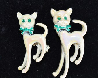 Vintage Pair of Iridescent Cat Brooches with Bobbing Heads and Bow Ties